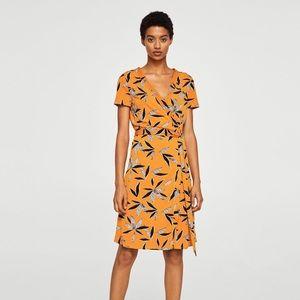 Mango Women's Orange Floral Wrap Dress